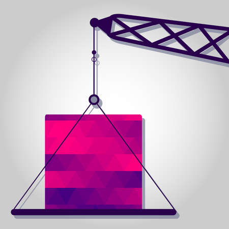 Crane and block with a colored triangles forming a gradient, purple to pink.