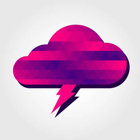 Lightning and cloud with a colored triangles forming a gradient, purple to pink. Illustration