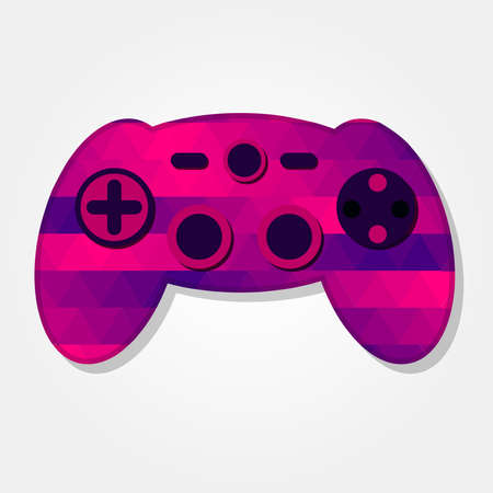 Gamepad with a colored triangles forming a gradient, purple to pink.