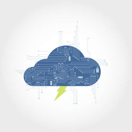Electronic circuit branching from a cloud with lightning. Clean design. Illustration