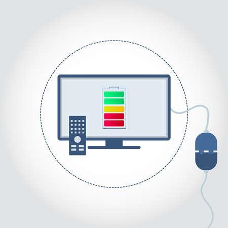 Tv con un enchufe enchufado y símbolo de la batería en el monitor que muestra el nivel de carga. Espacio vacío para insertar texto. Ilustración de vector
