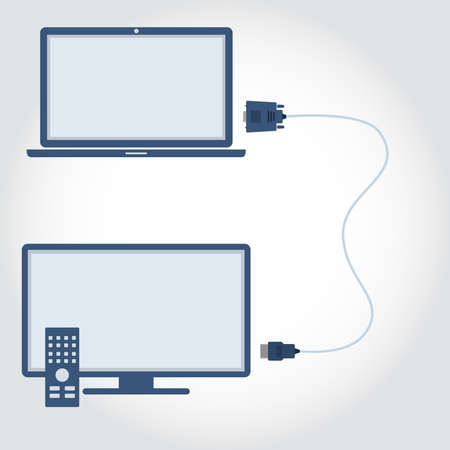 dvi: Laptop and television with VGA and HDMI interconnect. Flat design.