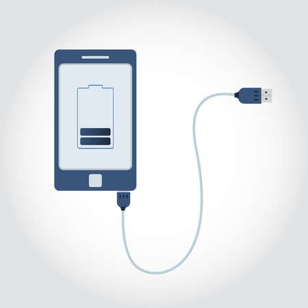 handheld device: Phone plugged in USB cable. Battery symbol on monitor showing charge level. Flat design.