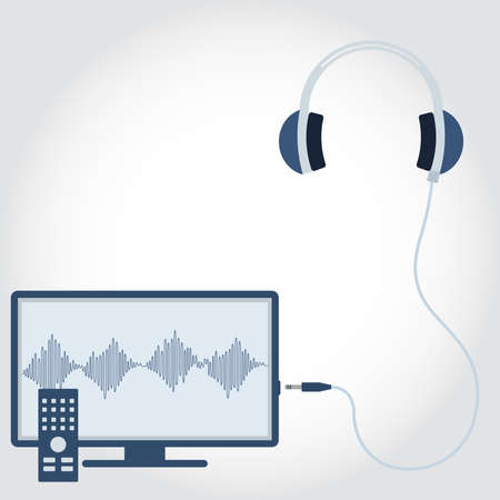 flat screen tv: TV with headphone unplugged. Sound wave symbol showing on monitor. Empty space for insert text. Flat design.