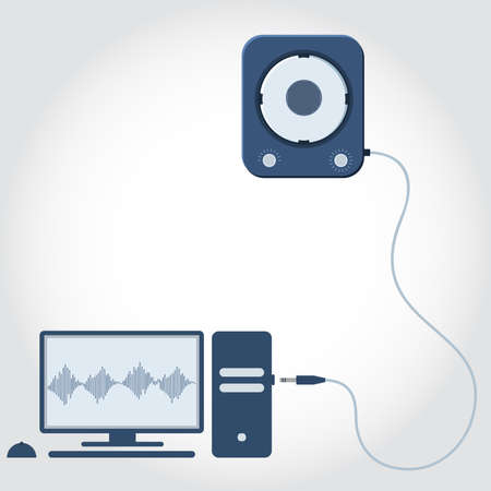 media gadget: Computer with speaker unplugged. Sound wave symbol showing on monitor. Empty space for insert text. Flat design.