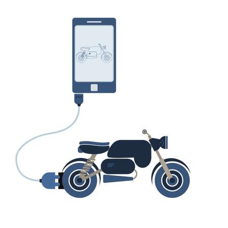 Motorrad mit einem Handy über ein USB-Kabel verbunden. Umriss des Motorrads auf dem mobilen Monitor. Flaches Design. Isoliert. Standard-Bild - 77491188