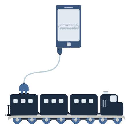 Train Verbunden Mit Einem Laptop über Ein USB-Kabel. Umriss Des ...
