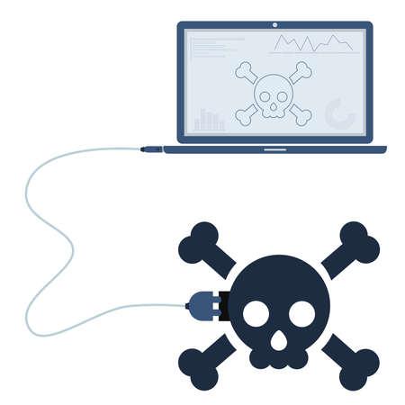 Skull-Symbol über Ein USB-Kabel Mit Einem Mobiltelefon Verbunden ...