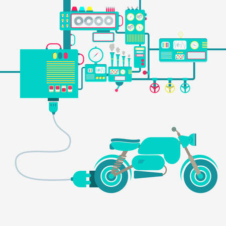 Electric supply of a motorcycle. Machinery producing electrical energy.