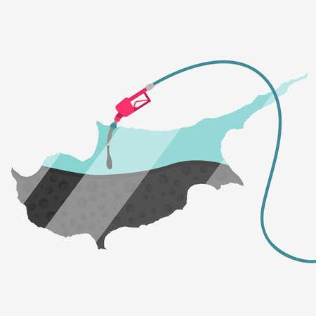 オイルによって燃料が供給されるキプロスの地図。ガス ポンプ燃料マップです。地図上にガラスの反射があります。概念。石油生産または輸入国。