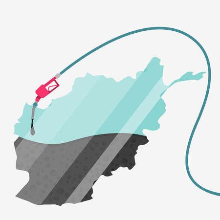 石油に支えられてアフガニスタンの地図。ガス ポンプ燃料マップです。地図上にガラスの反射があります。概念。石油生産または輸入国。  イラスト・ベクター素材