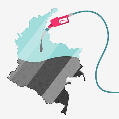 オイルによって燃料を供給されているコロンビアの地図。ガス ポンプ燃料マップです。地図上にガラスの反射があります。概念。石油生産または輸