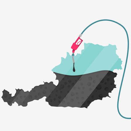 石油に支えられてオーストリアの地図。ガス ポンプ燃料マップです。地図上にガラスの反射があります。概念。石油生産または輸入国。