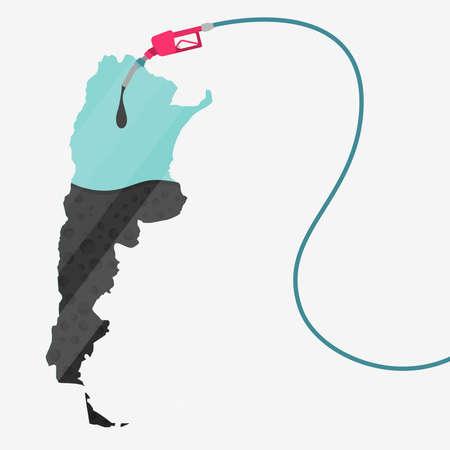 石油に支えられてアルゼンチンの地図。ガス ポンプ燃料マップです。地図上にガラスの反射があります。概念。石油生産または輸入国。