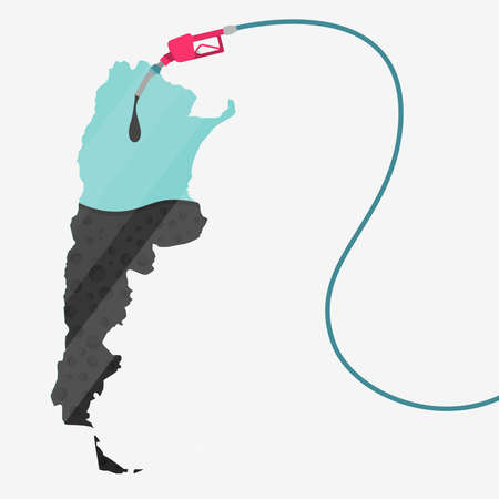 natural gas production: Map of Argentina being fueled by oil. Gas pump fueled map. On the map there is glass reflection. Conceptual. Oil producing or importing countries.