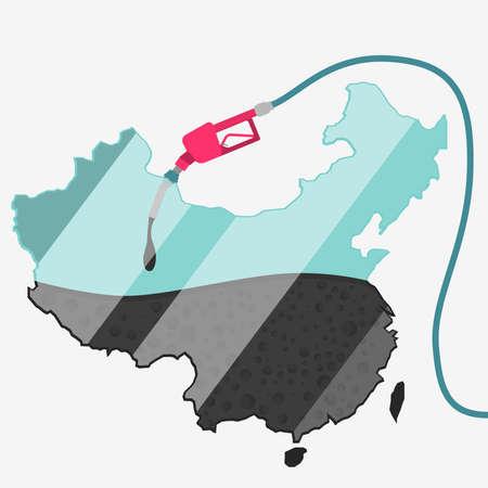 石油に支えられて中国の地図。ガス ポンプ燃料マップです。地図上にガラスの反射があります。概念。石油生産または輸入国。  イラスト・ベクター素材