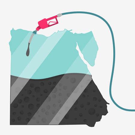 石油に支えられてエジプトの地図。ガス ポンプ燃料マップです。地図上にガラスの反射があります。概念。石油生産または輸入国。
