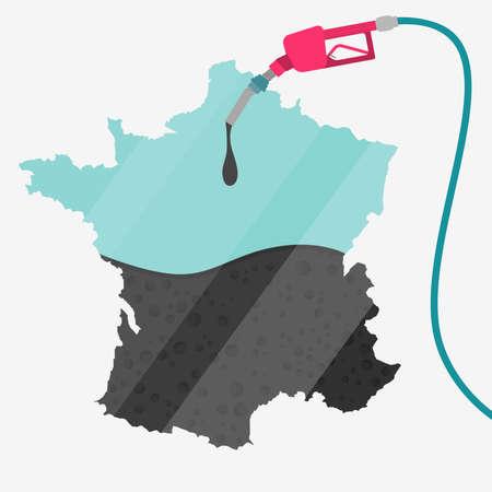 オイルによって燃料が供給されるフランスの地図。ガス ポンプ燃料マップです。地図上にガラスの反射があります。概念。石油生産または輸入国。  イラスト・ベクター素材
