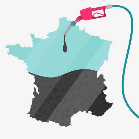 Map of France being fueled by oil. Gas pump fueled map. On the map there is glass reflection. Conceptual. Oil producing or importing countries.