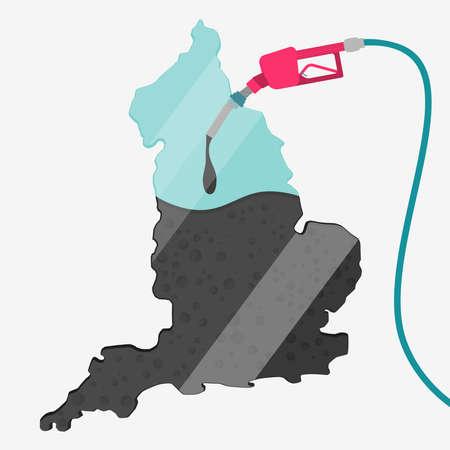 石油に支えられてイギリスの地図です。ガス ポンプ燃料マップです。地図上にガラスの反射があります。概念。石油生産または輸入国。