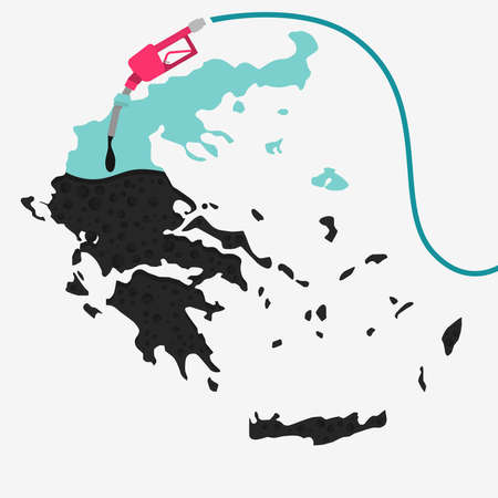 Map of Greece being fueled by oil. Gas pump fueled map. On the map there is glass reflection. Conceptual. Oil producing or importing countries.