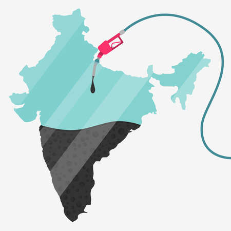 石油に支えられてインドの地図。ガス ポンプ燃料マップです。地図上にガラスの反射があります。概念。石油生産または輸入国。