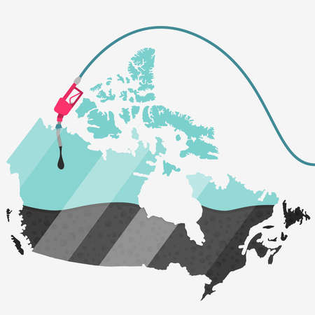 Map of Canada being fueled by oil. Gas pump fueled map. On the map there is glass reflection. Conceptual. Oil producing or importing countries.