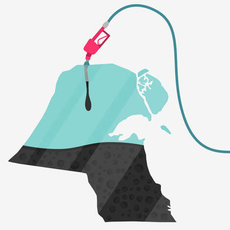クウェート石油に支えられての地図。ガス ポンプ燃料マップです。地図上にガラスの反射があります。概念。石油生産または輸入国。