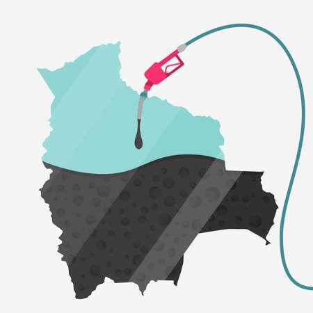 オイルによって燃料を供給されているボリビアの地図。ガス ポンプ燃料マップです。地図上にガラスの反射があります。概念。