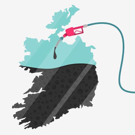 石油に支えられてアイルランドの地図。ガス ポンプ燃料マップです。地図上にガラスの反射があります。概念。石油生産または輸入国。  イラスト・ベクター素材