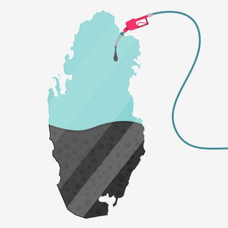 カタールの石油に支えられての地図。ガス ポンプ燃料マップです。地図上にガラスの反射があります。概念。石油生産または輸入国。  イラスト・ベクター素材