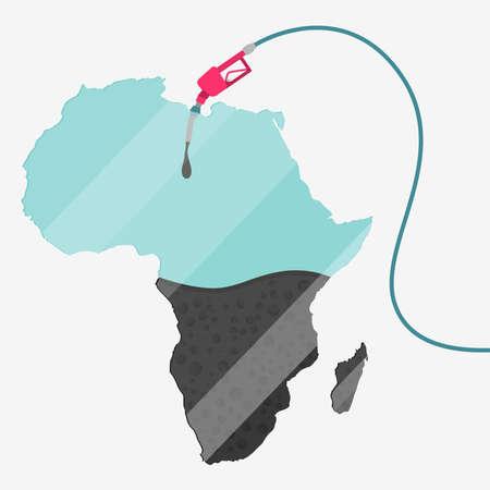 石油に支えられてアフリカの地図。ガス ポンプ燃料マップです。地図上にガラスの反射があります。概念。石油生産または輸入国。