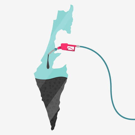 石油に支えられてイスラエル共和国の地図。ガス ポンプ燃料マップです。地図上にガラスの反射があります。概念。石油生産または輸入国。  イラスト・ベクター素材