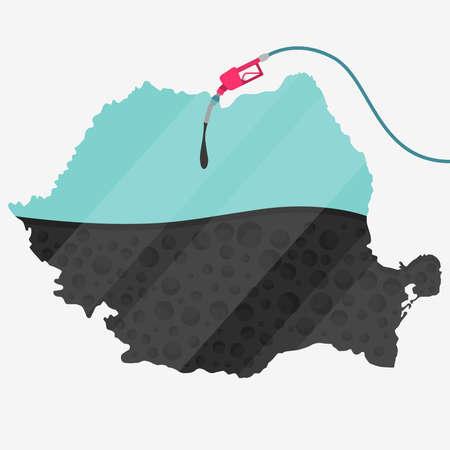 石油に支えられてルーマニアの地図。ガス ポンプ燃料マップです。地図上にガラスの反射があります。概念。石油生産または輸入国。