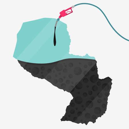 石油に支えられてパラグアイの地図。ガス ポンプ燃料マップです。地図上にガラスの反射があります。概念。石油生産または輸入国。  イラスト・ベクター素材