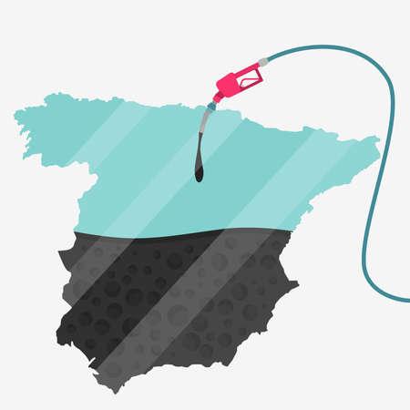 石油に支えられてスペインの地図。ガス ポンプ燃料マップです。地図上にガラスの反射があります。概念。石油生産または輸入国。