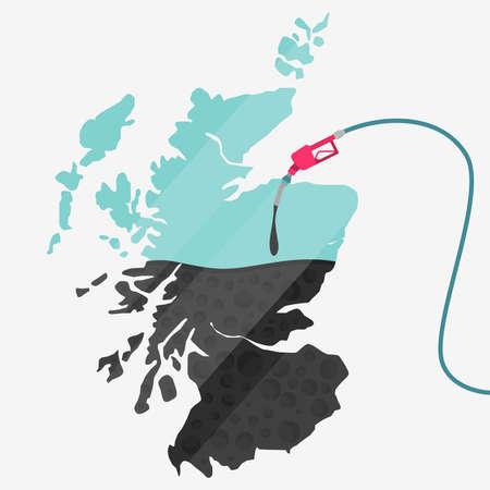 石油に支えられてスコットランドの地図。ガス ポンプ燃料マップです。地図上にガラスの反射があります。概念。石油生産または輸入国。