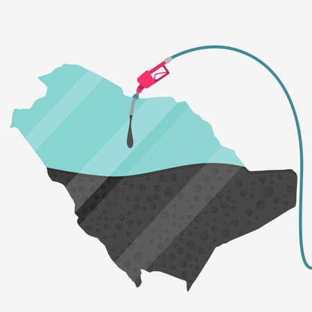 サウジアラビアの石油に支えられての地図。ガス ポンプ燃料マップです。地図上にガラスの反射があります。概念。石油生産または輸入国。