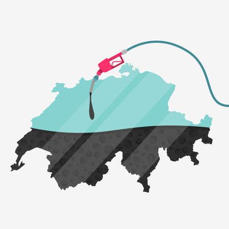 オイルによって燃料を供給されているスイス連邦共和国の地図。ガス ポンプ燃料マップです。地図上にガラスの反射があります。概念。石油生産ま