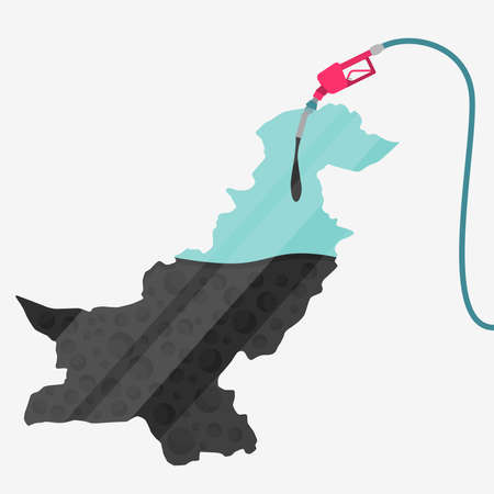 islamabad: Map of Pakistan being fueled by oil. Gas pump fueled map. On the map there is glass reflection. Conceptual. Oil producing or importing countries.