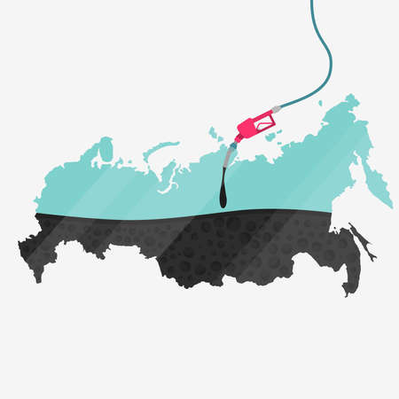 asian business: Map of Russia being fueled by oil. Gas pump fueled map. On the map there is glass reflection. Conceptual. Oil producing or importing countries.
