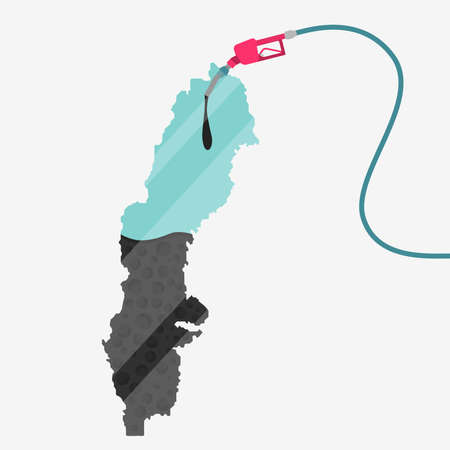 Map of Sweden being fueled by oil. Gas pump fueled map. On the map there is glass reflection. Conceptual. Oil producing or importing countries. Illustration