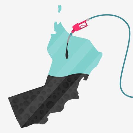 オマーン石油に支えられての地図。ガス ポンプ燃料マップです。地図上にガラスの反射があります。概念。石油生産または輸入国。  イラスト・ベクター素材