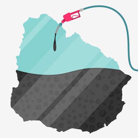オイルによって燃料が供給されるウルグアイの地図。ガス ポンプ燃料マップです。地図上にガラスの反射があります。概念。石油生産または輸入国  イラスト・ベクター素材