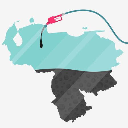 ベネズエラ石油に支えられての地図。ガス ポンプ燃料マップです。地図上にガラスの反射があります。概念。石油生産または輸入国。  イラスト・ベクター素材