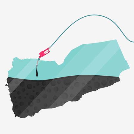 イエメン石油に支えられての地図。ガス ポンプ燃料マップです。地図上にガラスの反射があります。概念。石油生産または輸入国。  イラスト・ベクター素材