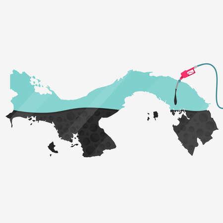 オイルによって燃料が供給されるパナマの地図。ガス ポンプ燃料マップです。地図上にガラスの反射があります。概念。石油生産または輸入国。  イラスト・ベクター素材