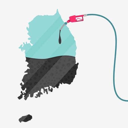 石油に支えられて韓国の地図。ガス ポンプ燃料マップです。地図上にガラスの反射があります。概念。石油生産または輸入国。