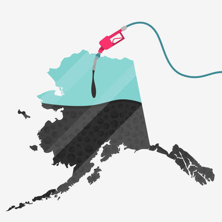 natural gas production: Map of Alaska being fueled by oil. Gas pump fueled map. On the map there is glass reflection. Conceptual. Oil producing or importing countries.