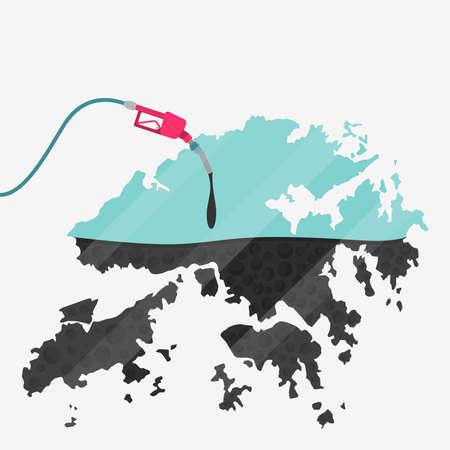石油に支えられて香港の地図。ガス ポンプ燃料マップです。地図上にガラスの反射があります。概念。石油生産または輸入国。